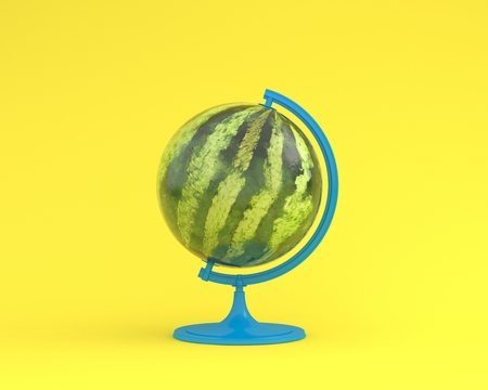 Watermelon global idea concept on yellow color pastel background. minimal idea concept. An idea creative to produce work within an advertising marketing communications. Business concepts Stock Photo