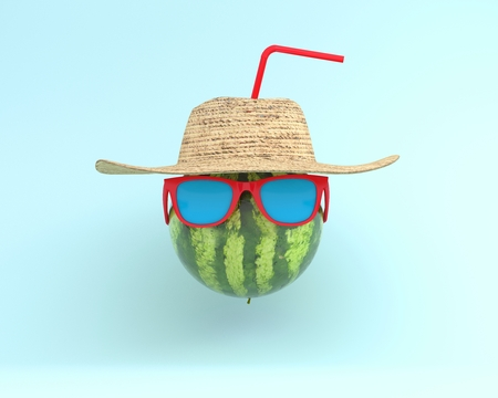 Summer times of funny attractive watermelon in stylish sunglasses with hat on blue pastel background. minimal idea concept. foods and drinks that are typically enjoyed at summer festivals