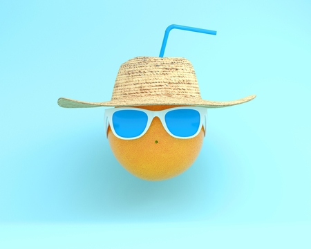 Summer times of funny attractive orange in stylish sunglasses with hat on blue pastel background. minimal fruit idea concept. foods and drinks that are typically enjoyed at summer festivals
