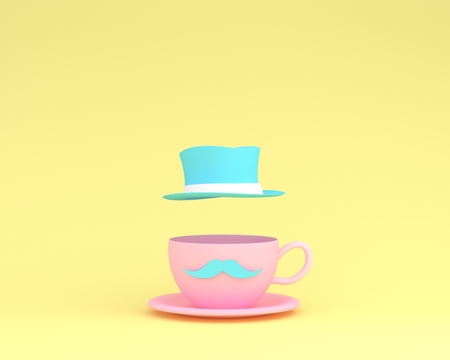 A cup of pink coffee with a floating blue hat on yellow background. minimal concept idea. Happy Fathers Day, is a celebration honoring fathers and celebrating fatherhood, paternal bonds. Reklamní fotografie