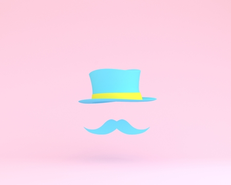 Symbol beard father with a floating blue hat on pink background. top view, minimal concept idea. Happy Fathers Day, is a celebration honoring fathers and celebrating fatherhood, paternal bonds