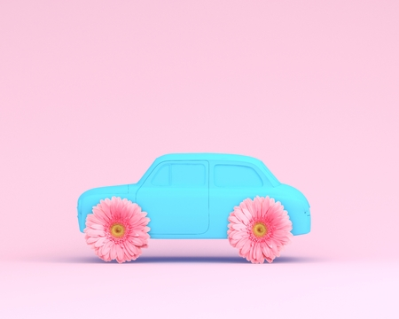 Pink flower layout wheel and car blue on pink pastel background. minimal idea creative concept. Idea creative to produce work within an advertising marketing communications.