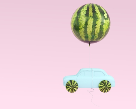 Watermelon layout wheel and car blue with watermelon balloon floating on pastel pink background. minimal idea food and fruit summer concept.  Reklamní fotografie