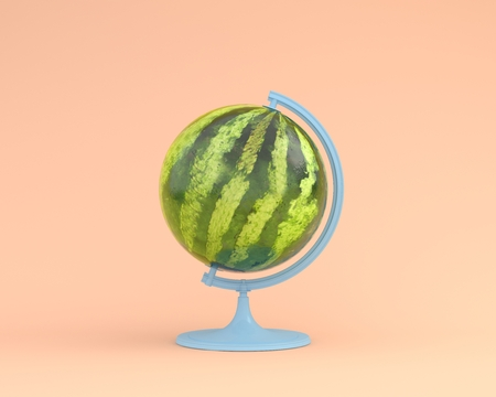 Business concepts : Globe sphere orb watermelon concepts on pastel orange background. minimal idea food and fruit concept. Idea creative to advertising marketing communications.  Reklamní fotografie