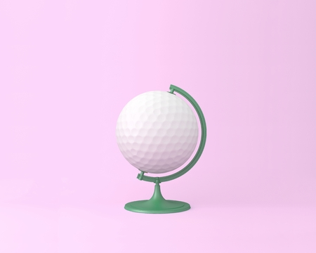 Globe sphere orb golf concept on pastel pink background. minimal idea business concept. An idea creative to produce work within an advertising marketing communications or artwork design. sports