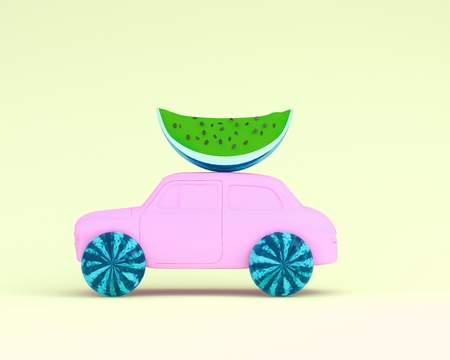 Watermelon layout wheel and car purple on yellow pastel background. minimal idea food and fruit concept. Idea creative to produce work within an advertising marketing communications. Reklamní fotografie