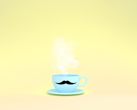 A cup of blue coffee with a floating vapor on yellow background. minimal concept idea. Happy Fathers Day, is a celebration honoring fathers and celebrating fatherhood, paternal bonds.