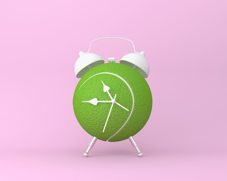 Creative idea layout Tennis ball alarm clock on pastel pink background. minimal idea sport concept. Idea creative to produce work within an advertising marketing communications or artwork design.