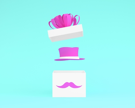 Happy Fathers Day, Open gift box with pink hat on blue pastel background. minimal idea concept. nobody with copy space. Reklamní fotografie