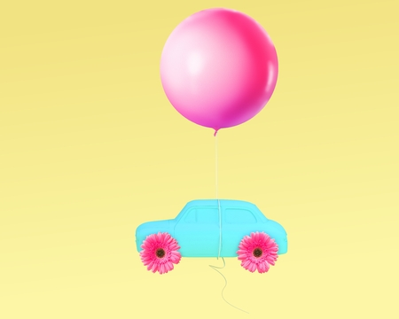 Creative layout pink flower wheel and car blue with pink balloon floating on yellow pastel background. minimal idea concept.