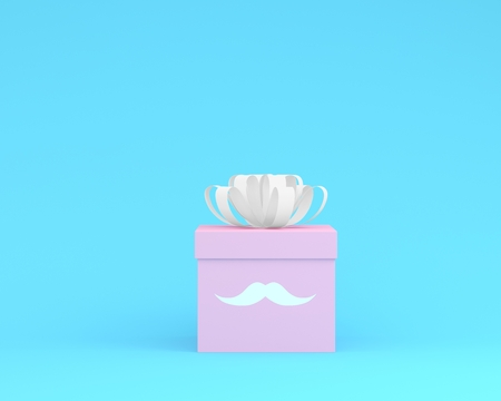 Happy Fathers Day, Pink gift box with white ribbon on blue pastel background. minimal idea concept. nobody with copy space. Reklamní fotografie