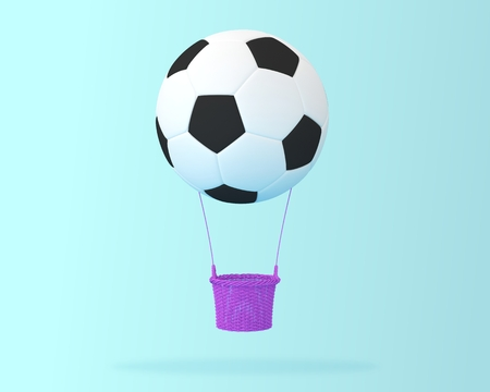 Creative idea layout Football big hot air balloon on blue pastel background. minimal idea design sports and recreation concept. happy holiday flying balloons. Reklamní fotografie