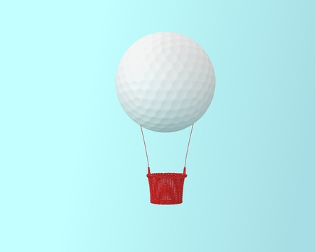 Big hot air balloon golf concepts on blue pastel background. minimal creative concept. happy holiday flying balloons. Design sports and recreation concept.