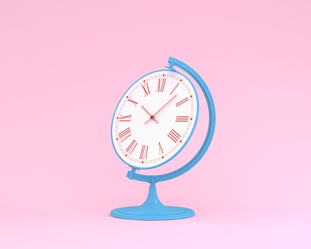 Creative idea layout globe sphere orb clock on pink pastel background. minimal business concept. Time of people, time value of work concepts is a valuable commodity and its a measure of success.