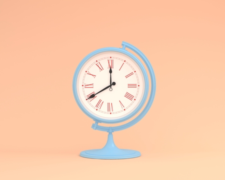 Creative idea layout globe sphere orb clock on pastel orange background. minimal business concept. Time of people, time value of work concepts is a valuable commodity and its a measure of success. Reklamní fotografie