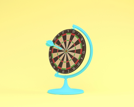 Creative idea layout globe sphere orb Darts board with arrows on pastel yellow background. minimal idea business concept. Creatively to produce work within an advertising marketing or art design. Фото со стока