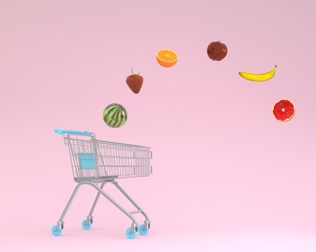 Creative idea layout shopping cart with fruits floating on pink pastel background. minimal idea food and fruit concept. Ideas creatively to produce work within an advertising marketing communications