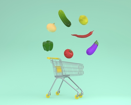 Creative idea layout shopping cart with vegetables on a green pastel background.minimal idea food concept. Ideas creatively to produce work within an advertising marketing communications or art design