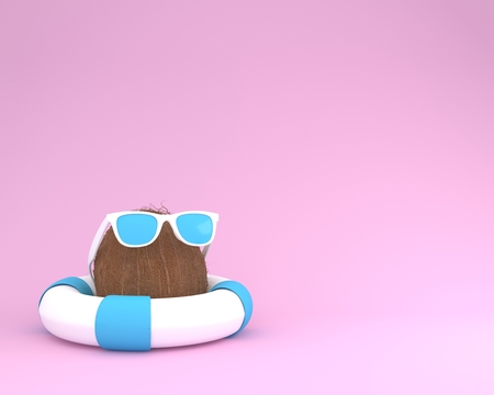 Concept made of coconut with blue pool float and sunglasses on pink pastel background. minimal summer creative idea.