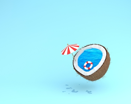 Tropical the beach concept made of coconut with pool float and sun umbrella on blue pastel background. minimal summer creative idea.