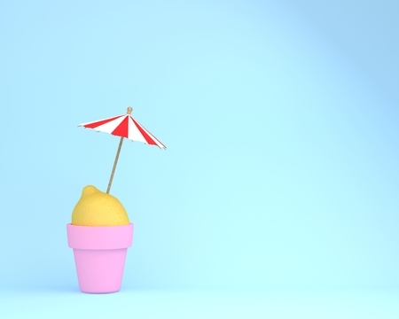 Creative summer layout made of lemon with flowerpot and sun umbrella on blue pastel background.  Minimal summertime idea concept.