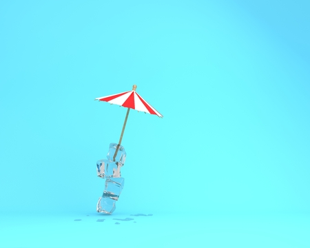 Tropical Island, The beach concept made of Ice and sun umbrella on blue pastel background. Creative minimal summer idea.