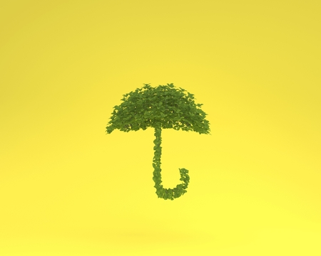 Creative layout made of plant umbrella floating on yellow pastel background. minimal idea nature. An idea creative to artwork design or World environment day concept Reklamní fotografie