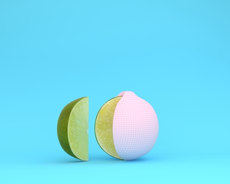 Creative layout made of Lemon pink polka dots separate pieces on blue pastel background. minimal idea food concept.