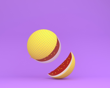 Colorful watermelon yellow polka dots separate pieces on purple pastel background. minimal idea food concept.