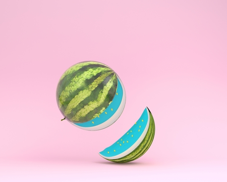 Creative layout made of watermelon separate pieces on pink pastel background. minimal idea food concept.