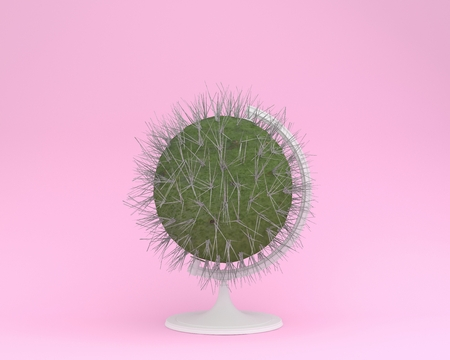 Creative idea layout of cactus globe sphere the orb on pastel pink background. minimal idea concept. Idea creative to produce work within an advertising marketing communications or artwork design 版權商用圖片