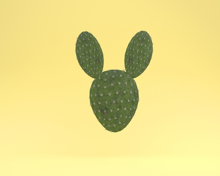 Creative idea layout cactus rabbit floating on yellow color pastel background. minimal idea concept. Idea creative to produce work within an advertising marketing communications or artwork design. Stock Photo