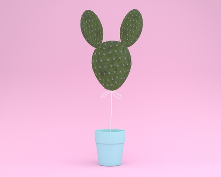 Creative idea layout cactus rabbit with flower pot on pastel pink background. minimal idea concept. Idea creative to produce work within an advertising marketing communications or artwork design.