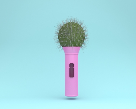 Creative idea layout cactus microphone floating on blue pastel background. minimal idea concept. Idea creative to produce work within an advertising marketing communications or artwork design
