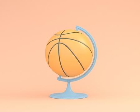 Creative idea layout of Basketball globe sphere the orb on orange color pastel background. minimal idea sport concept.