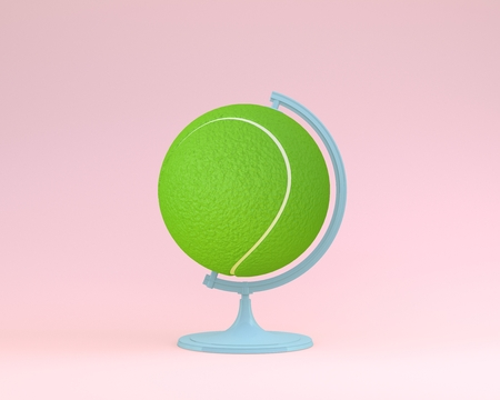 Globe sphere orb Tennis ball concept on pastel pink background. minimal idea sports concept. An idea creative to produce work within an advertising marketing communications or artwork design. Stock Photo