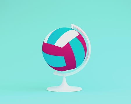 Globe sphere the orb Volleyball concept on pastel blue background. minimal idea sports concept. An idea creative to produce work within an advertising marketing communications or artwork design. 版權商用圖片