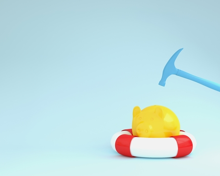 Hammer which is raised above a piggy banks yellow with blue pool on blue pastel background. minimal business finance concept. Holidays In Economic Reklamní fotografie