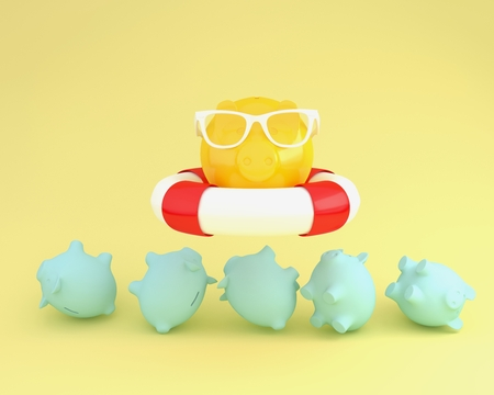 Creative idea layout of piggy and sunglasses with blue pool floating above piggy bank other on yellow pastel background. minimal business finance concept. Holidays In Economic Reklamní fotografie