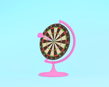 Creative idea layout globe sphere orb Darts board with pink arrows on pastel blue background. minimal idea business concept. Creatively to produce work within an advertising marketing or art design. Reklamní fotografie