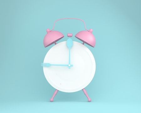 Creative layout made of spoon and fork on round plate in a form of pink alarm clock on blue pastel background. minimal idea business concept. Reklamní fotografie