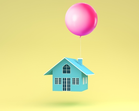 Blue house with Pink balloons floating on yellow background. minimal for real estate concept. Reklamní fotografie