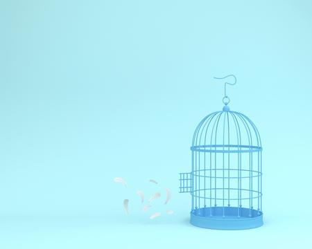 Piume bianche di angelo che galleggiano fuori dalla gabbia per uccelli retrò su sfondo blu pastello idea minima del concetto di libertà