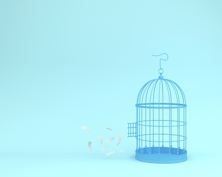 White angel feathers floating outside retro bird cage on pastel blue background  minimal idea concept of freedom Banque d'images - 104952838