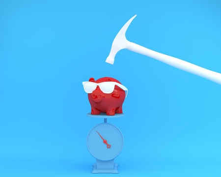 Hammer which is raised above a piggy banks red with scales on blue background. minimal business finance concept. Reklamní fotografie