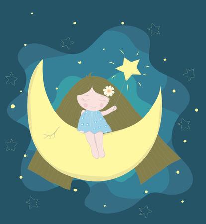 Fairy girl cartoon with moon at night. Hand drawn style Illustration