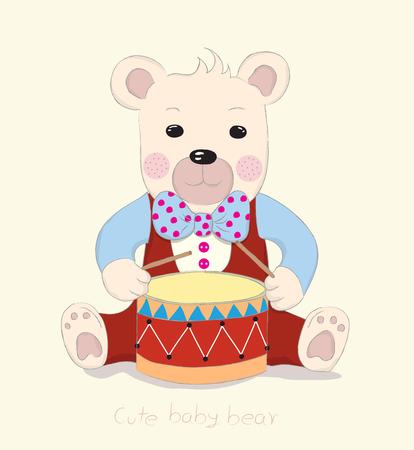 Hand drawn style, Cute little bear cartoon drum.