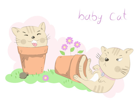 Cute two little cats cartoon misbehave with flower pot. Hand drawn style