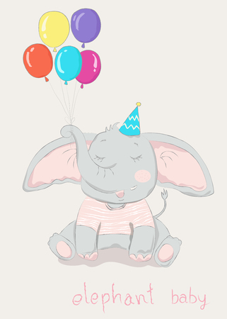 Hand drawn style, Cute little elephant cartoon hold colorful balloon. Ilustrace