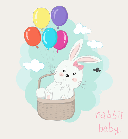 Cute little rabbit cartoon in the basket with colorful balloons floating on the sky. Hand drawn style